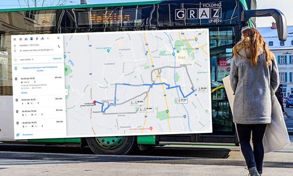 Google Maps zeigt nun auch in Graz Öffis an