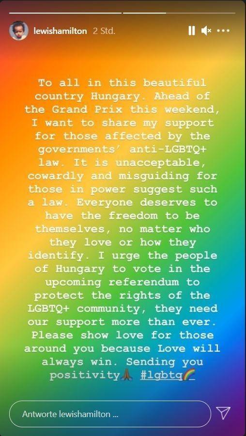 Lewis Hamilton: Scharfe Kritik an geplantem LGBTQ-Gesetz in Ungarn
