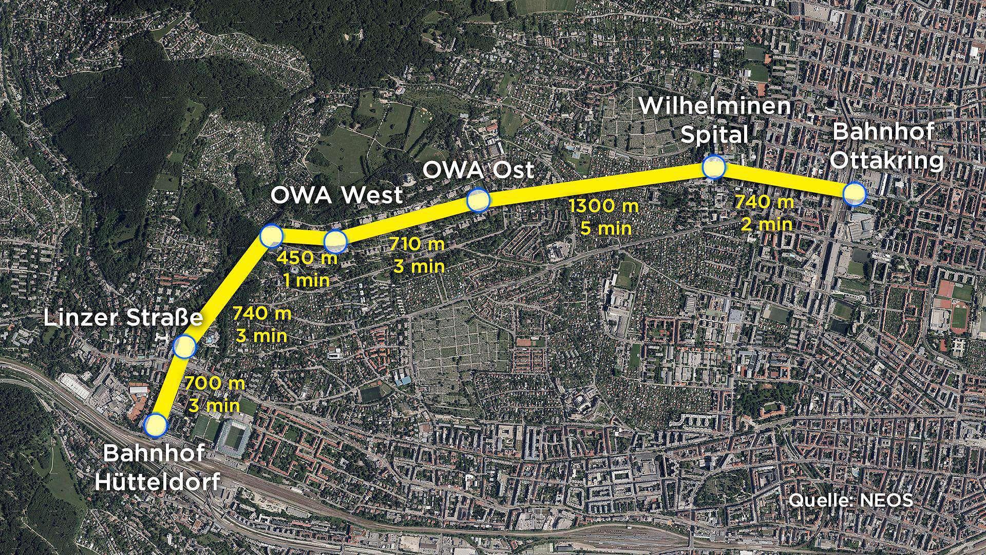 Die geplante Route der Wiener Stadtseilbahn