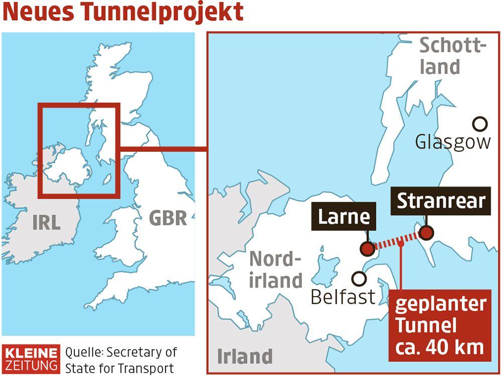 Der geplante Verlauf des unterseeischen Tunnels