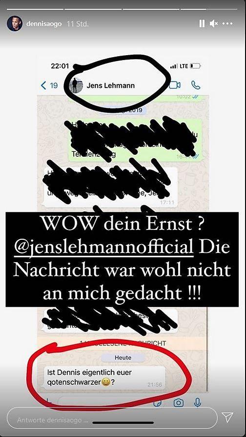 WhatsApp-Nachricht von Jens Lehmann an Dennis Aogo