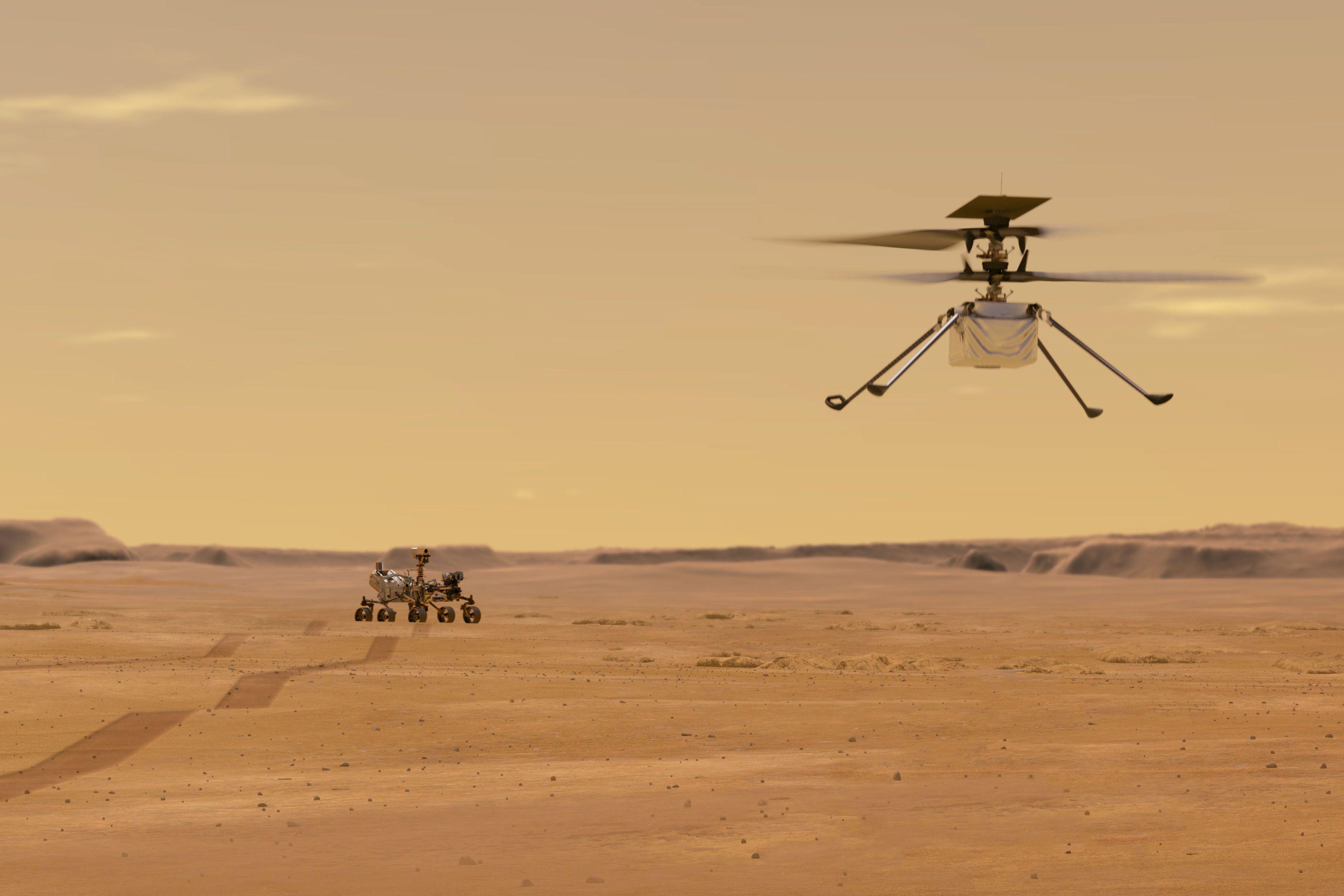 """Der Ultraleicht-Minihubschrauber """"Ingenuity"""" soll durch die Mars-Atmosphäre fliegen und den Rover flankieren"""