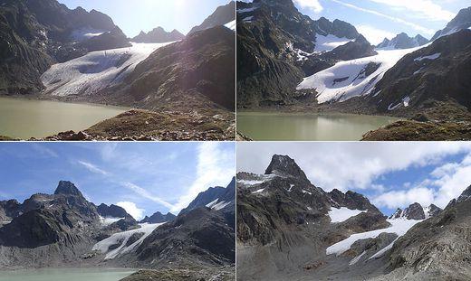 Blick vom Schweikertsee auf den Schweikertferner und den Fuß des Rofelewand-Massivs in den Jahren 2011, 2014, 2016 und 2018 (im Uhrzeigersinn)