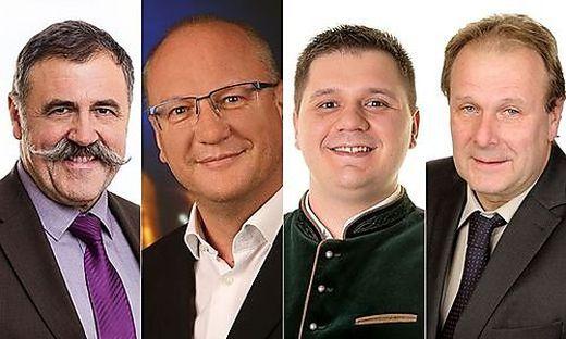 Die Spitzenkandidaten in St. Andrä-Höch: Bürgermeister Rudolf Stiendl (ÖVP), Wilfried Zöhrer (Team St. Andrä-Höch), Thomas Klug (SPÖ), Christian Mandl (FPÖ)