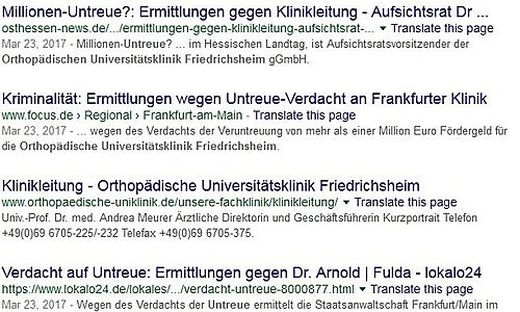 Die Pressemeldungen über den Fall in Deutschland