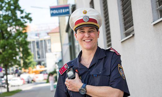 Heike Fortmüller von der PI St. Ruprechter Straße in Klagenfurt hatte am Donnerstag ihren ersten Dienst mit der Bodycam