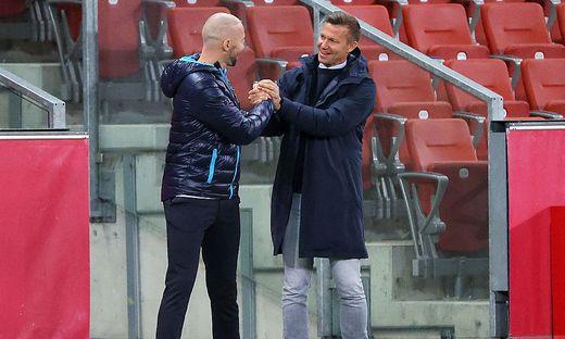 Christian Ilzer (SK Sturm, links) und Salzburg-Trainer Jesse Marsch