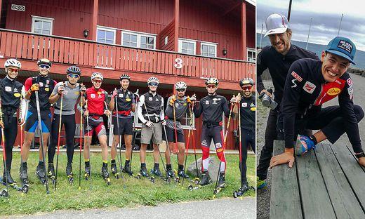 Das ÖSV-Nationalteam in Lillehammer (li.), Physiotherapeut Christoph Schwarzl mit Thomas Jöbstl (re.)