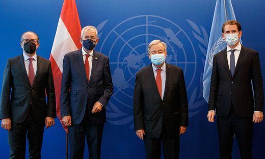 Schallenberg, Van der Bellen, Guterres, Kurz