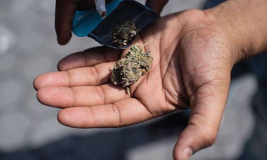 In kleinen Tütchen oder Gläschen wird das CBD-Cannabis verteilt