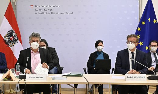 Werner Kogler und Rudolf Anschober waren Gastgeber beim Sportgipfel