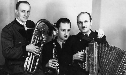 Das Edler Trio: Josef Haim (Armeeposaune), Hermann Sommer (Klarinette), Franz Edler (Harmonika)