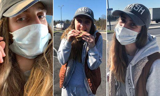 Jennifer Thaler mit Mundschutz im Flieger, beim ersten Biss ins erste Schwarzbrot seit 8,5 Monaten und wieder glücklich auf österreichischem Boden