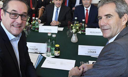 Ex-Vizekanzler Heinz-Christian Strache und Ex-Finanzminister Hartwig Löger: Beide weisen die Vorwürfe zurück