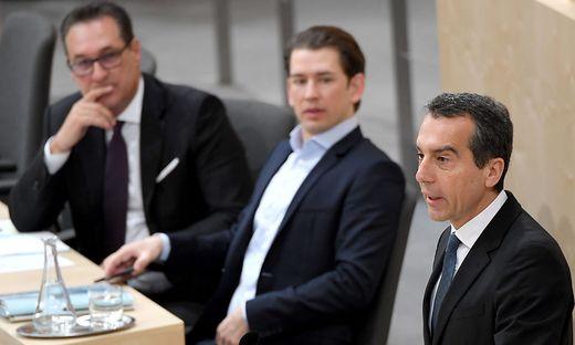 VK Heinz Christian Strache, BK Sebastian Kurz und SPÖ-Chef Christian Kern