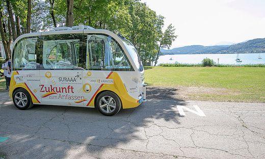 Autonom fahrender Bus am Wörthersee