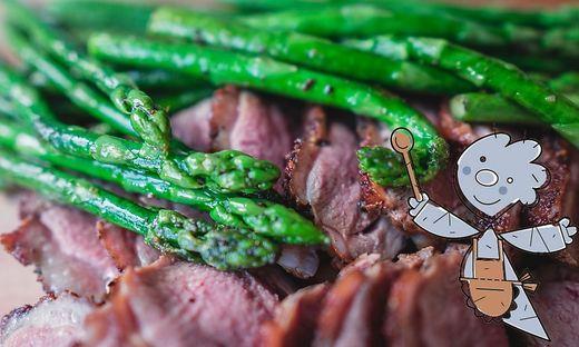 Spargelsalat mit Rindfleischstreifen