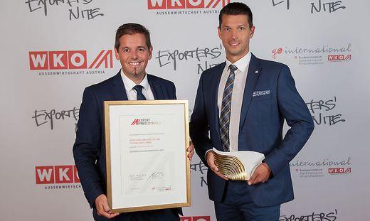Alexander Scheriau und Stefan Griesser nahmen den Exportpreis entgegen