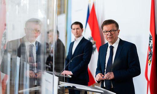 Gesundheitsminister Rudolf Anschober und Kanzler Kurz