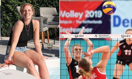 Vor Kurzem genoss Sabrina Müller noch die Zeit daheim am Pool. Rechts die Veldnerin in Aktion