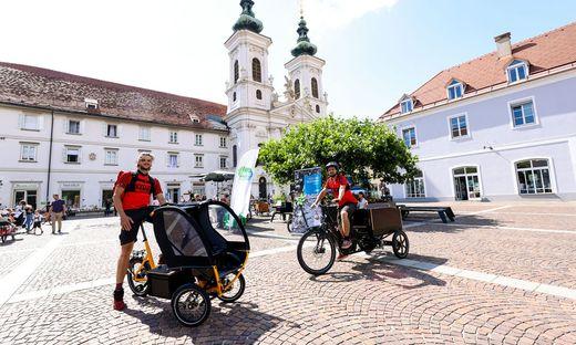 Verschiedene Lastenrad-Modelle konnten kürzlich am Mariahilferplatz ausprobiert werden