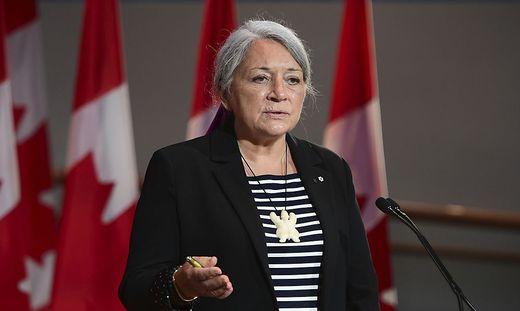 Mary Simon während einer Rede im Kanadas Nationalmuseum für Geschichte und Gesellschaft in Quebec