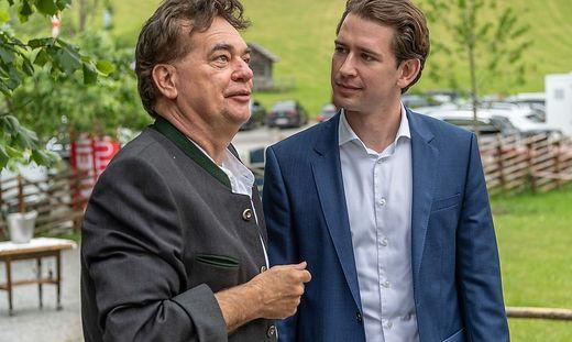 Kogler und Kurz bei der Weinkost am 21. Juni 2019 am Pogusch