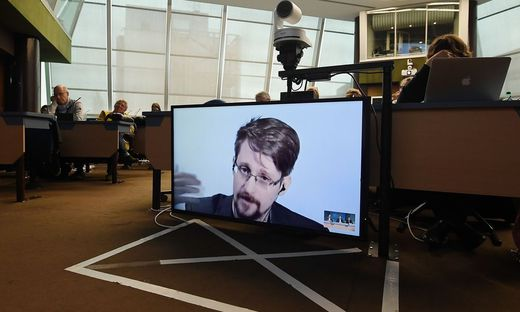 Edward Snowden bei einer Konferenz im März 2019