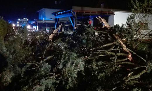 Der Baum beschädigte ein Auto, ein Carport und mehrere Zäune