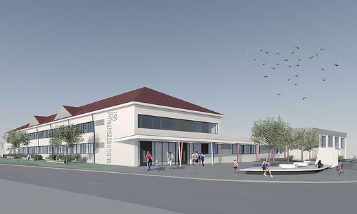 Die Nord-Ost-Ansicht des neuen Bildungszentrums Spittal