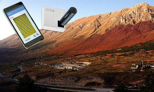 Tag und Sensor von Garnet: Eingesetzt u. a. in Versuchslaboren, die – abgeschirmt von kosmischer Strahlung – unter 1400 Meter Fels liegen