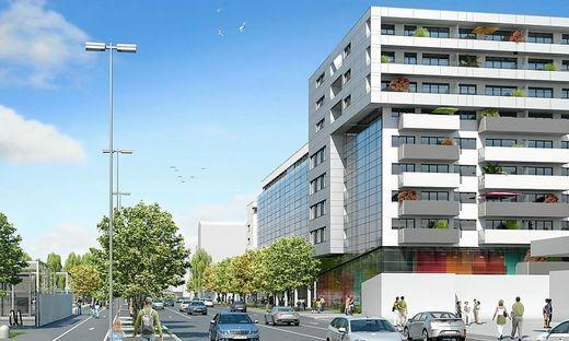 Am Eck zur Conrad von Hötzedorf Straße/Fröhlichgasse wird der Komplex am höchsten