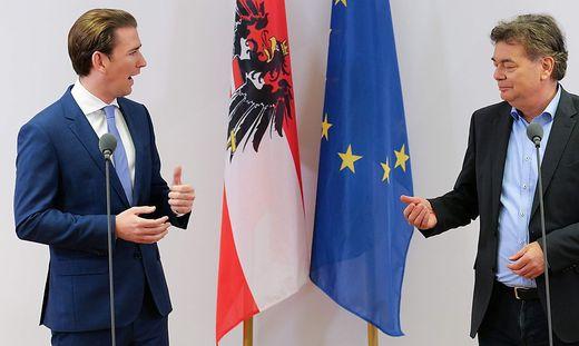 Bevor es noch in die Details geht guter Dinge: ÖVP-Chef Sebastian Kurz und der Grüne Chefverhandler Werner Kogler