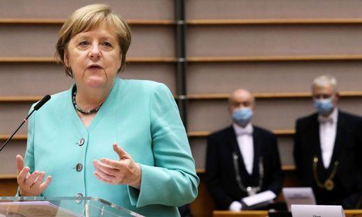 Die deutsche Kanzlerin Angela Merkel bei ihrem Auftritt am Mittwoch vor dem Europaparlament in Brüssel