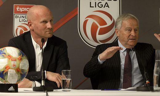 Liga Vorstand Christian Ebenbauer (links) und ÖFB-Präsident Leo Windtner