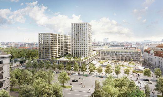 Das Wiener Heumarkt-Areal mit dem projektierten Hochhausturm