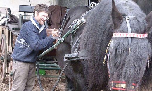 Je nach Belieben werden die Pferde geschmückt. Gottfried Heidegger bereitet sein Pferd für das Stefanireiten vor