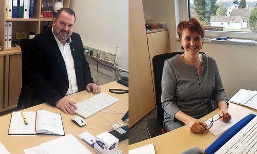 Die AMS-Geschäftsstellenleiter Hartmut Kleindienst und Anneliese Scheucher sehen eine positive Entwicklung