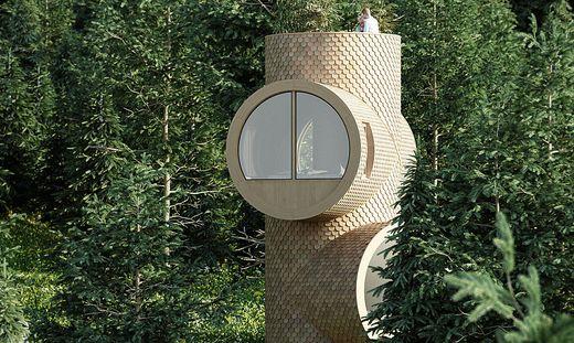 Ich glaub, ich steh im Wald: Bert, das Baumhaus erinnert an einen Stamm mit Astgabelungen