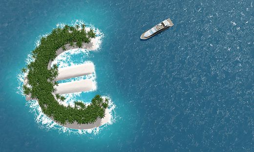 Tax haven, financial or wealth evasion on a euro island. A luxury boat is sailing to the island.