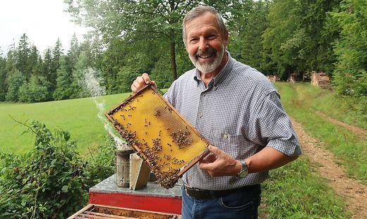 Imker Karl Kreiner bei seinen Bienenstöcken
