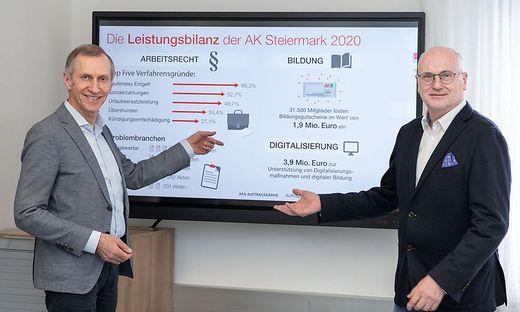 AK-Präsident Josef Pesserl (l.) und AK-Direktor Wolfgang Bartosch präsentieren die Leistungsbilanz 2020