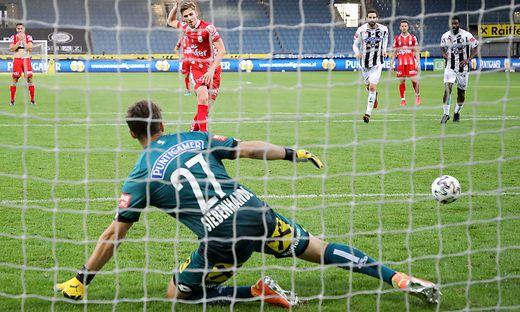 Marko Raguz erzielt das 1:0 für den LASK