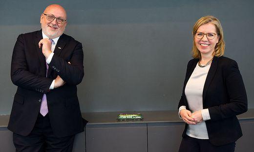 ÖBB-Chef Andreas Matthä und Umweltministerin Leonore Gewessler
