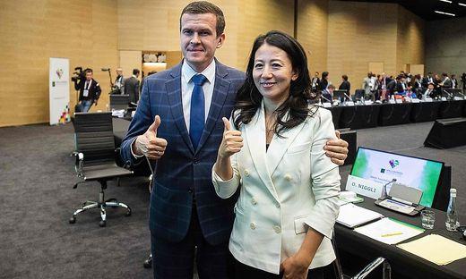 WADA-Chef Witold Banka mit Vizepräsidentin Yang Yang