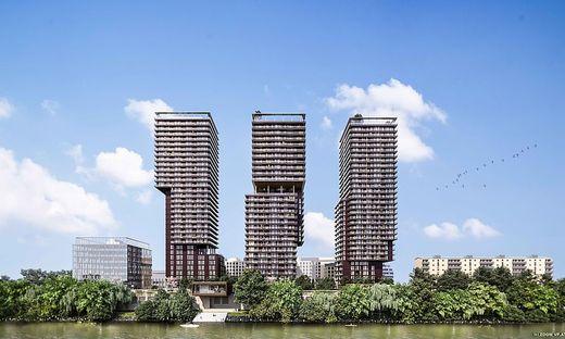 """Die drei Türme des """"TrIIIple Tower"""": Bis Mitte 2021 sollen 73.000 Quadratmeter Nutzfläche zur Verfügung stehen"""