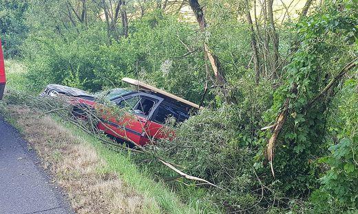 In Haselbach landete ein Pkw im Straßengraben - zwischen Bäumen und Gestrüpp