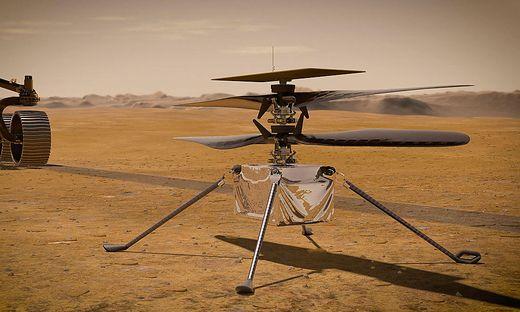 """Der kleine Hubschrauber """"Ingenuity"""" könnte Anfang April erstmals zu einem Testflug aufbrechen"""