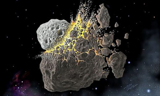 Künstlerische Darstellung der Asteroiden-Kollision