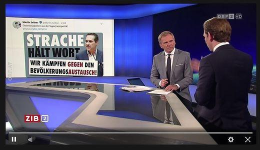Bundeskanzler Sebastian Kurz (ÖVP) wird von Armin Wolf in der Zib 2 mit dem Jubel der Identitären über Vizekanzler Strache konfrontiert.